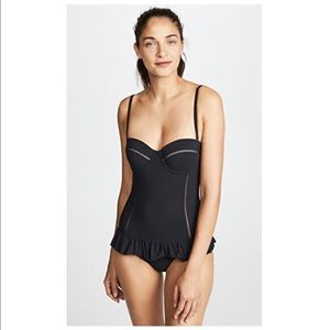 tory burch - peplum flounce one piece swimsuit